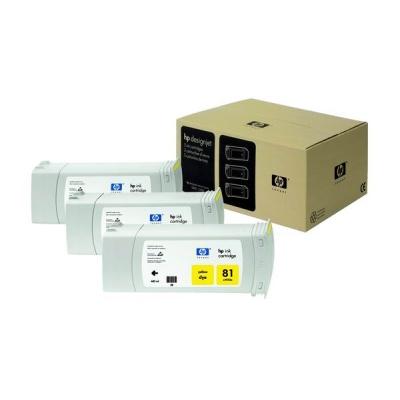 HP 81 Yellow DJ Ink Cart, 680 ml, 3-pack, C5069A