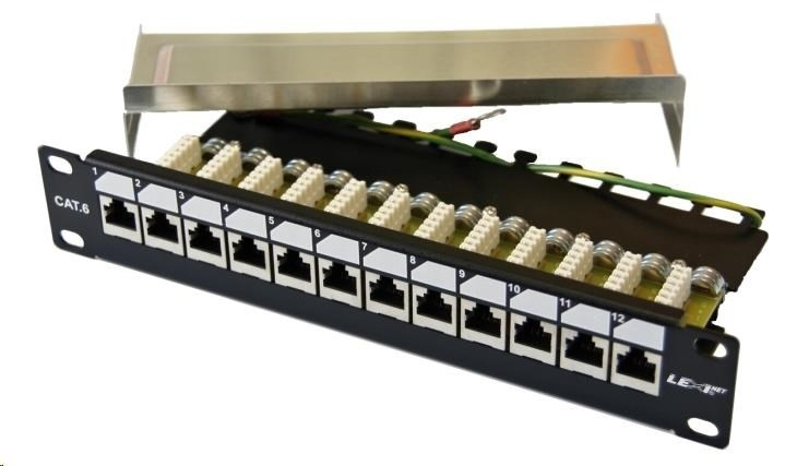 "10"" Patch panel EXCLUSIVE osazený 12port, FTP (SFTP, STP), Cat 6, s hřebínkem"