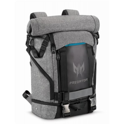 """ACER PREDATOR GAMING ROLLTOP BACKPACK FOR 15"""" NBs GRAY n TEAL BLUE (RETAIL PACK)"""