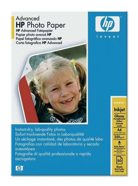 HP Advanced Glossy Photo Paper-50 sht/A4/210 x 297 mm,  250 g/m2, Q8698A